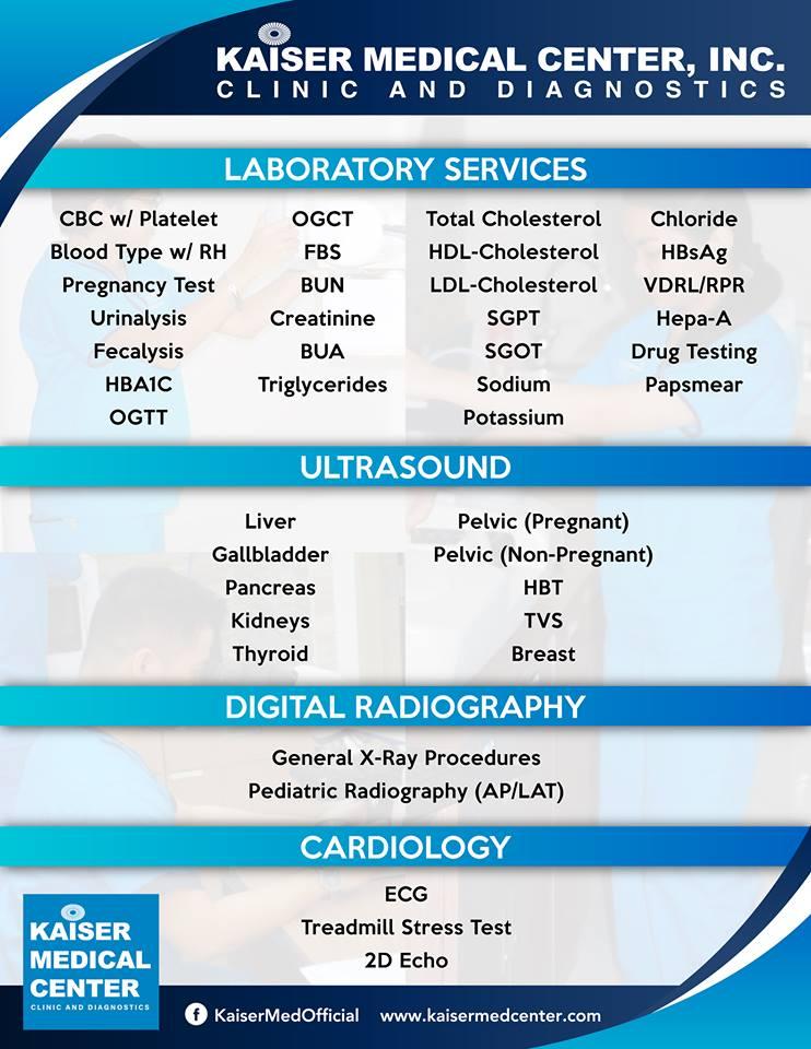 Kaiser Medical Center SM City Cebu list of available laboratory test