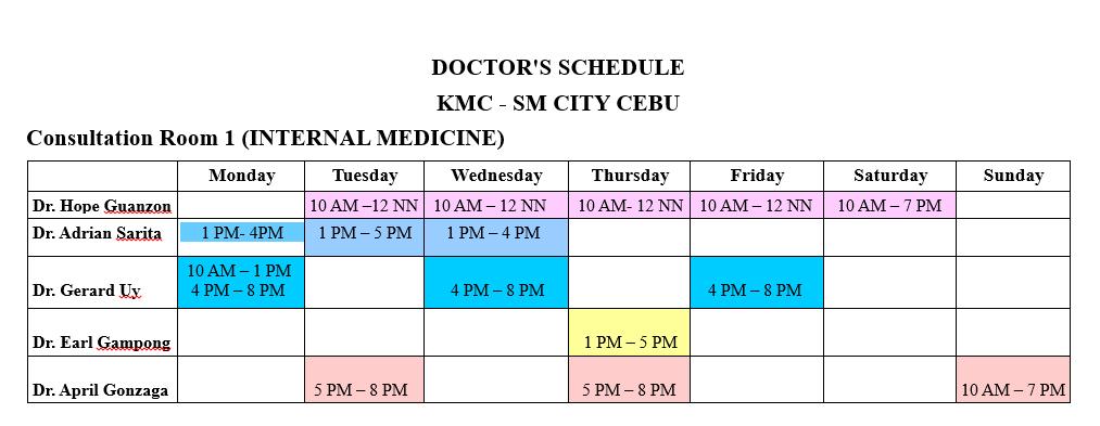 Kaiser Medical Center Internest Schedule