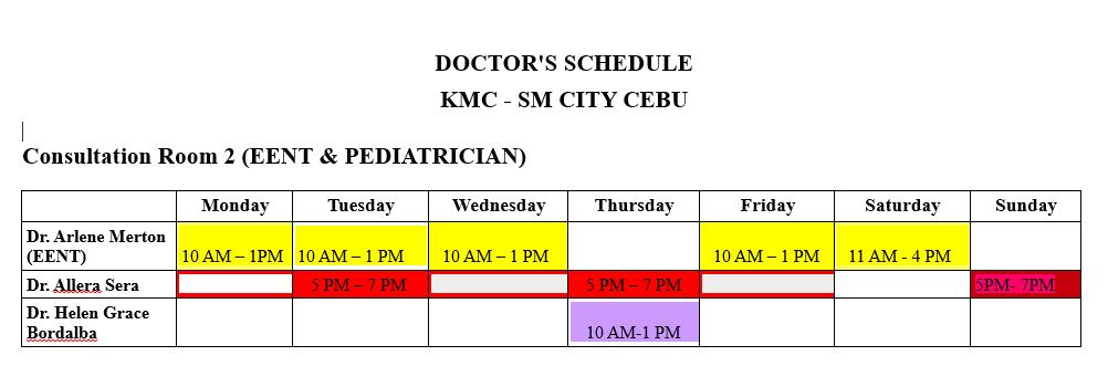 Kaiser Medical Center EENT and Pediatrician schedule